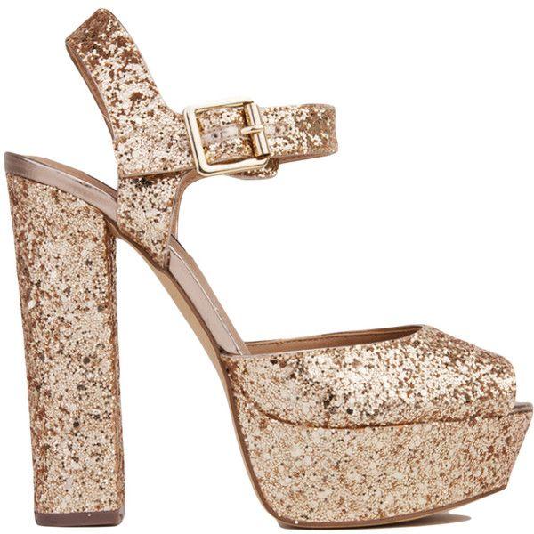 Steve Madden Jillyy Glitter Platform Sandals - Gold (520 HRK) ❤ liked on Polyvore featuring shoes, sandals, heels, gold glitter, heeled sandals, peep toe sandals, steve-madden shoes, gold heel sandals and gold glitter sandals