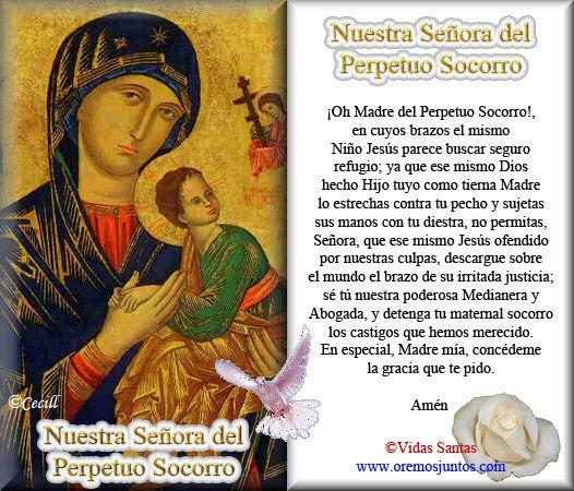 Oracion Virgen Del Perpetuo Socorro | ... Oración: Estampas Oraciones de Nuestra Señora del Perpetuo Socorro