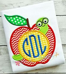 Monogram Apple Applique - 4 Sizes! | What's New | Machine Embroidery Designs | SWAKembroidery.com Creative Appliques