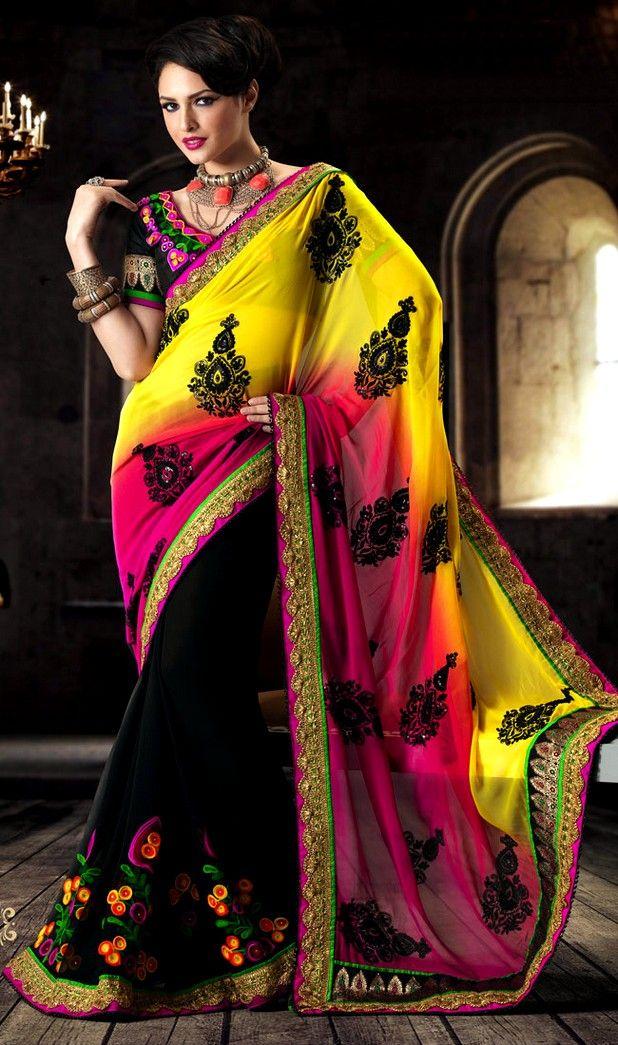 Jiyare Sarees Collection Spring Saree Collection 2013 Colorful Party Wear Sarees ~ •♥•Naina Jee Bridal Dresess & Beauty Salon•♥•