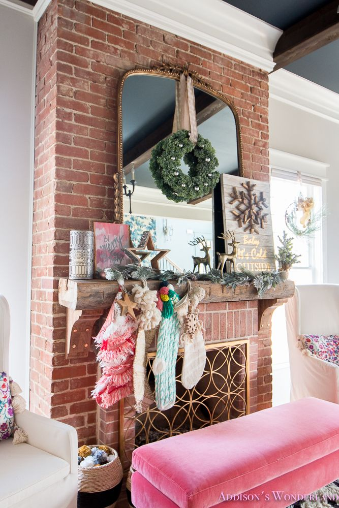 Inside Our Colorful Christmas Holiday Home Tour... Sharing a peek inside our 1905 historic home accessorized by HomeGoods! Sponsored by HomeGoods. #sponsored  living-room-black-ceiling-wood-beams-anthropologie-flocked-christmas-tree-ribbon-how-to-whitewashed-hardwood-floors-chesterfield-sofa-brick-fireplace-alabaster-inkwell-gossamer-veil-sherwin-williams-decorating-ideas