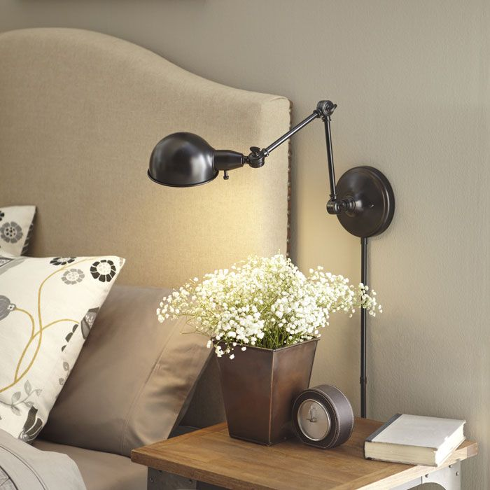 allen roth h bronze swingarm wallmounted lamp with metal shade at loweu0027s create the perfect reading spot with this wall lamp from the embelton - Wall Lamps For Bedroom