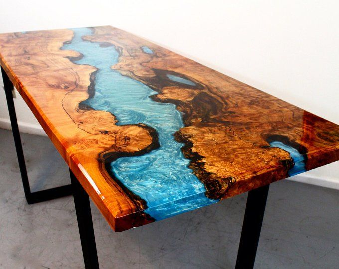 Turquoise Resin River Dining Table Resin Table Wood
