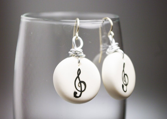 Treble Clef Cold Porcelain Earrings