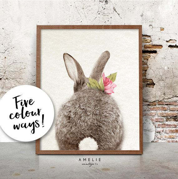 Rabbit Tail Print Woodlands Decor Nursery Wall by AMELIEVintageCo