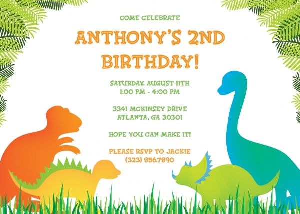 Dinosaur Birthday Invitation Templates Free