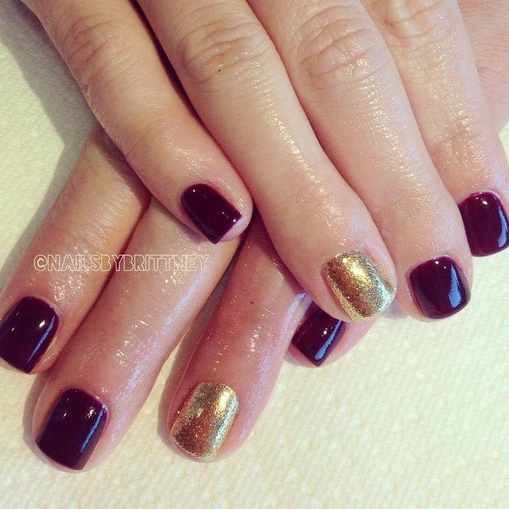 Dark Red Nail Polish: Dark Red Gel Polish With Gold Glitter Accents. Fall Nails