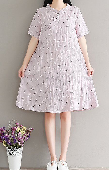 Women loose fitting over plus size ethnic flower dress collar pocket chic tunic #Unbranded #dress #Casual