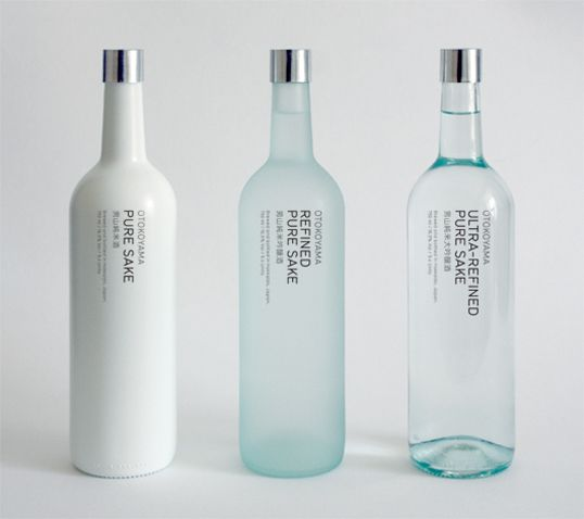 Bottles for Japanese sake aimed at Western consumers. Simplicity is beauty!