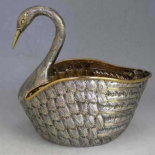 Tane sterling swan centerpiece: Tane Sterling, Sterling Swan, Swan Centerpieces