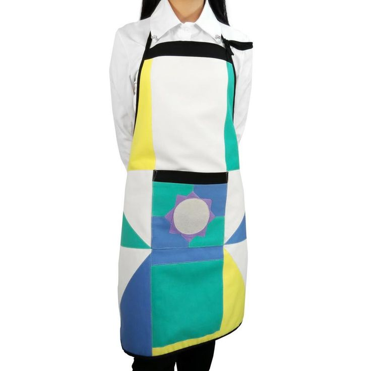 [Sun] Patchwork Chef Work Apron Art Works Women Men Apron with Pocket