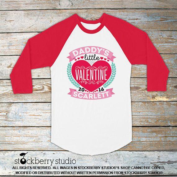 Kids Valentine Shirt Girl Daddy's Little Valentine Raglan T Shirt by stockberryapparel on Etsy