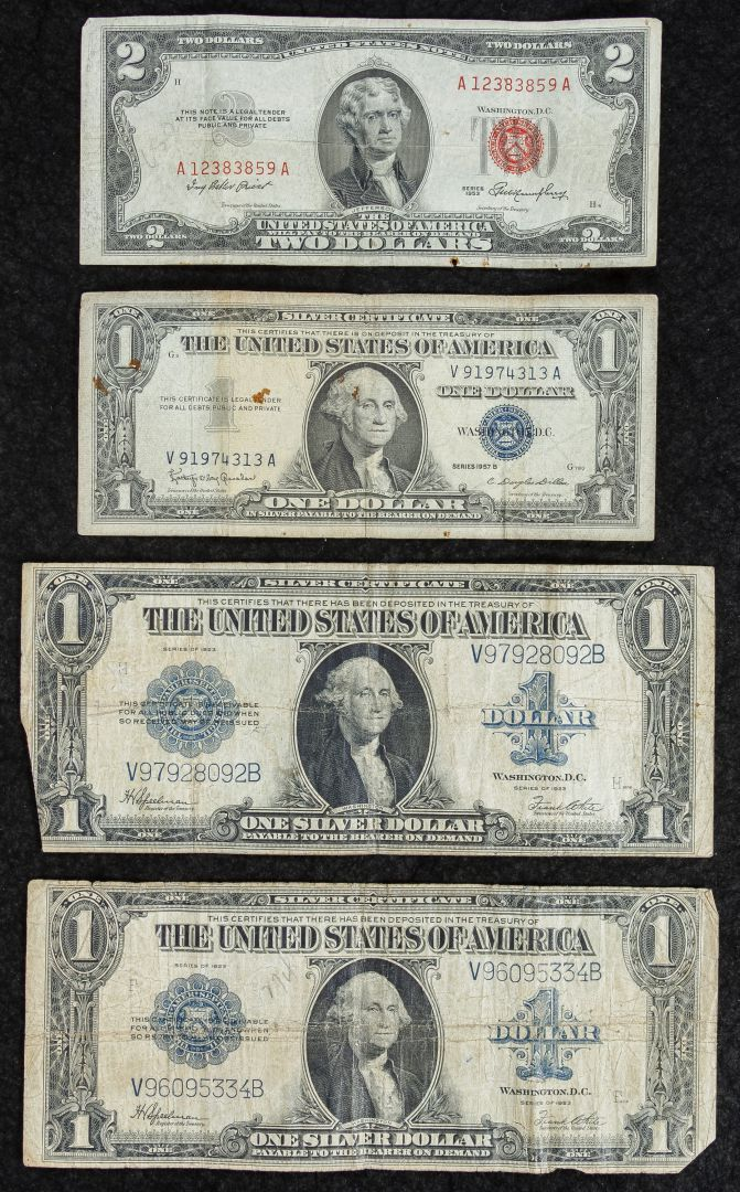 Lot 1: 1923 $1 Silver Certificates ; (2) notes; together with a 1957-B $1 silver certificate and $2 1953 red seal federal reserve note