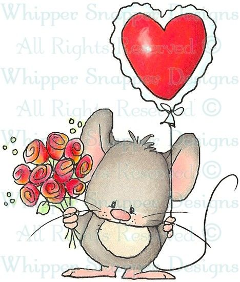 Valentine Mouse - Mice - Animals - Rubber Stamps - Shop