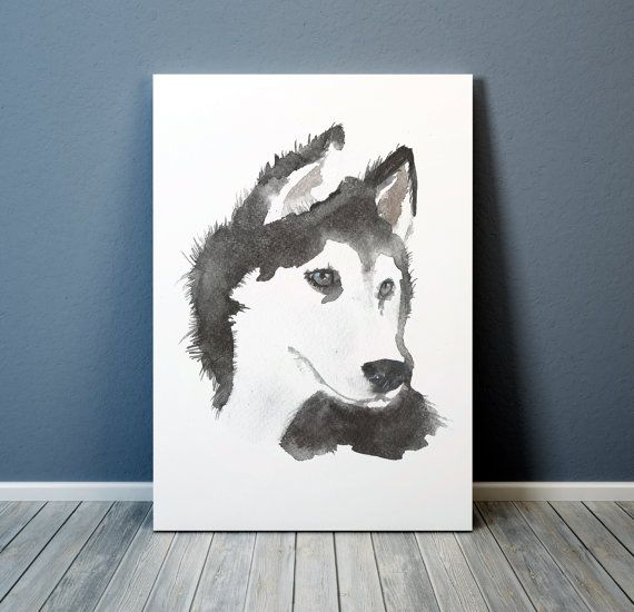 Lovely watercolor dog poster. Cute nursery art. Siberian husky print. BUY 1 GET 1 FREE - use coupon code 777BIRDS at checkout. Comes in two