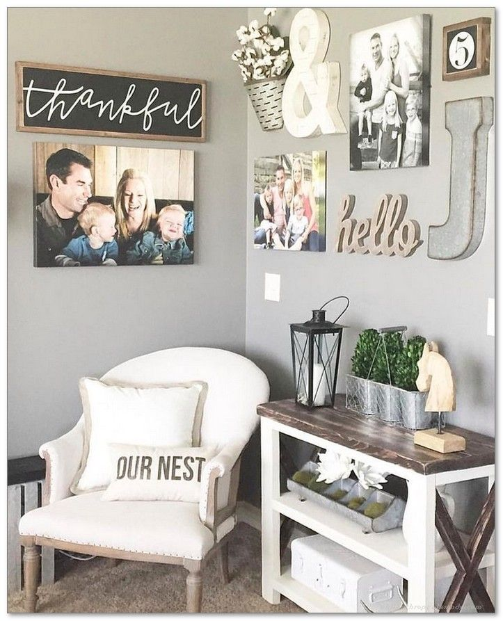 99+ DIY Farmhouse Living Room Wall Decor And Design Ideas ...