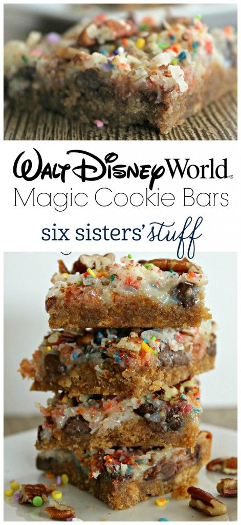 I have made magic cookie bars before, but this recipe is my new favorite! The crust is a little thicker, the pecans give it the perfect amount of flavor, and the sprinkles-well it is Disney. Did you expect anything else?  If you like magic cookie bars you are going to LOVE these!!!