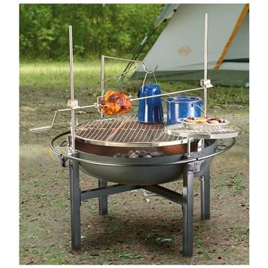 Cowboy Fire Pit/Rotisserie/Grill delivers that savory, mmm good BBQ taste. After dinner it converts to a fire pit, so you can sit back and enjoy a relaxing camp fire.