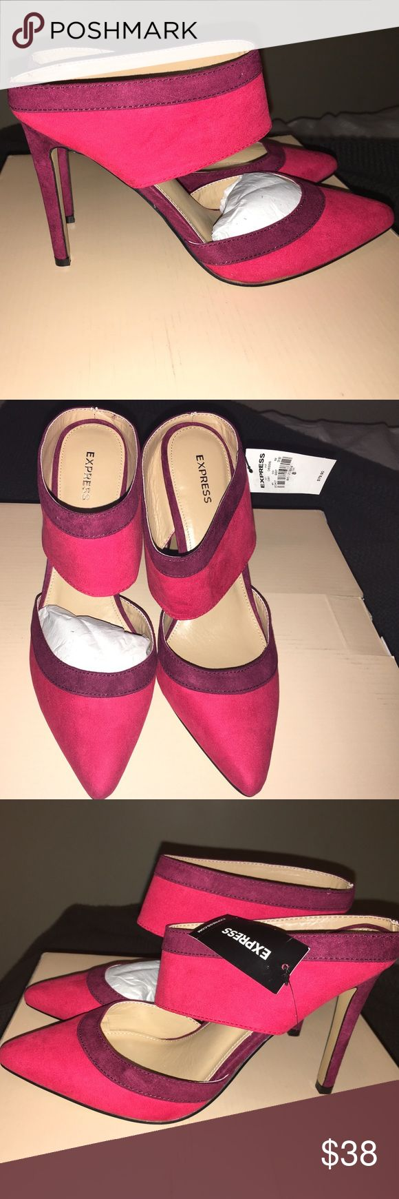 Women's Mule Shoes Pointy toe, open back,red, 3 1/2-4 inch heel. Runs true to size. Express Shoes Mules & Clogs