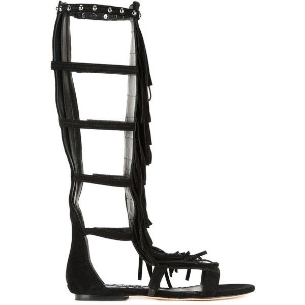 Alice+Olivia 'Paula' sandals (6,590 MXN) ❤ liked on Polyvore featuring shoes, sandals, black, fringe sandals, black gladiator sandals, fringe gladiator sandals, long gladiator sandals and leather shoes
