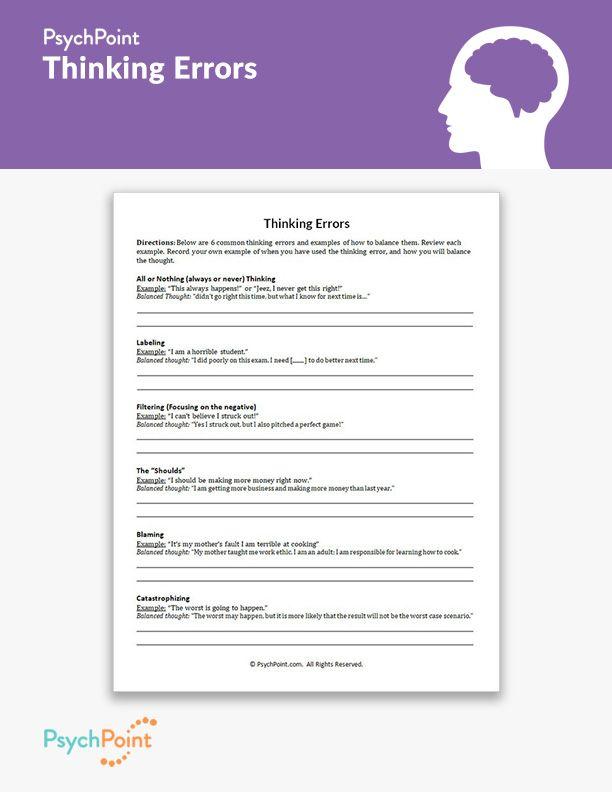 Thinking Errors Worksheet Thinking Errors Therapy Worksheets Cbt Worksheets