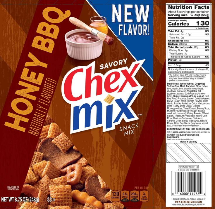 The updated Nutrition Facts label, as seen on Honey BBQ Savory Chex Mix. Image courtesy of Label Insight.