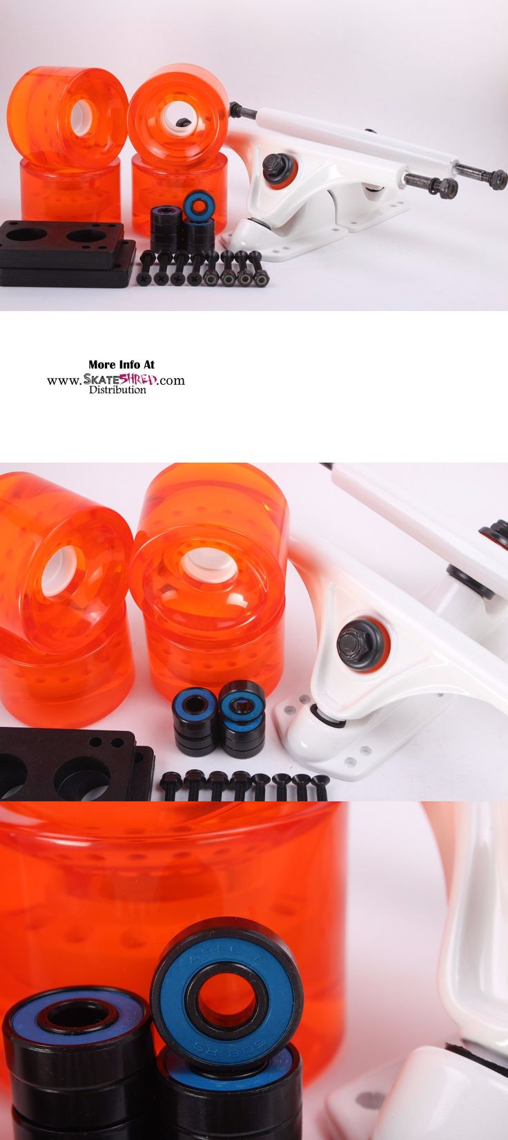 Wheels 165946: 70Mm 78A Clear Orange Longboard Wheels And White Reverse Kingpin Truck Combo Set BUY IT NOW ONLY: $30.99