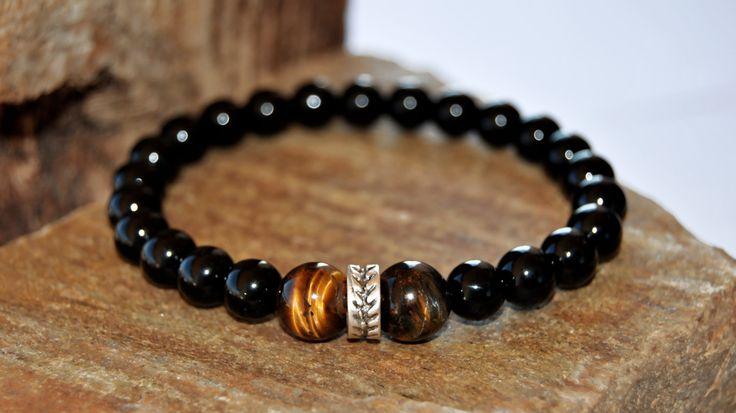 Men bracelet, Men's beaded bracelet, gemstone men bracelet, onix stone, mens bracelet, tiger eye men bracelet