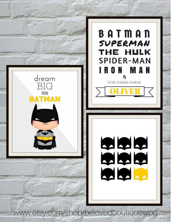 Dream Big Little Batman Modern Nursery Art by belovedboutiquewpg