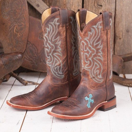 In love with these!!!  Tony Lama Ladies' Tan and Teal Cross Boots
