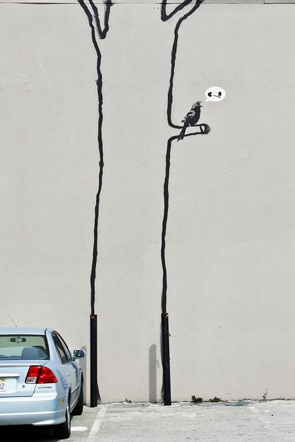 located in a parking lot at 117 Mission Street (between 13th & 14th st.), San Francisco by Banksy // photo and text by Jonathan Chan -- click for bio on Banksy