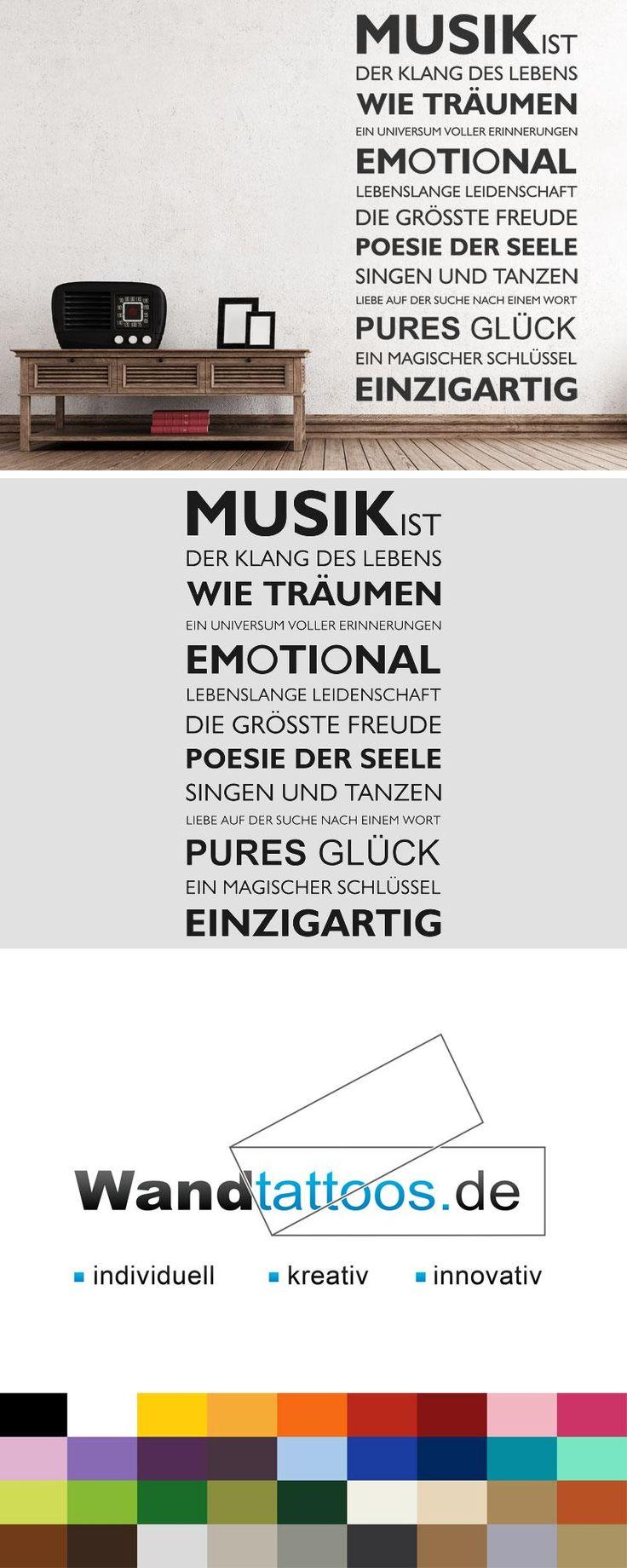 Wandtattoo Musik ist... als Idee zur individuellen Wandgestaltung. Einfach Lieblingsfarbe und Größe auswählen. Weitere kreative Anregungen von Wandtattoos.de hier entdecken!