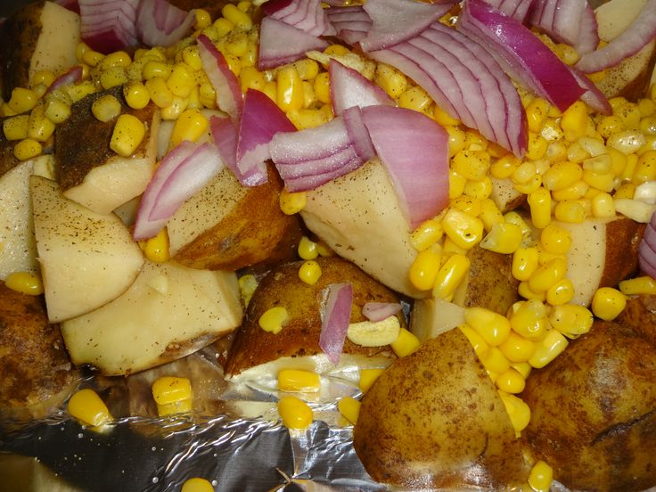 these pictures are of when i was making Roasted potatoes with corn and onions  if you would like to check out the video click here https://www.youtube.com/watch?v=FGfQL6vLKR8