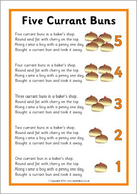 Five Currant Buns song sheet (SB10817) - SparkleBox