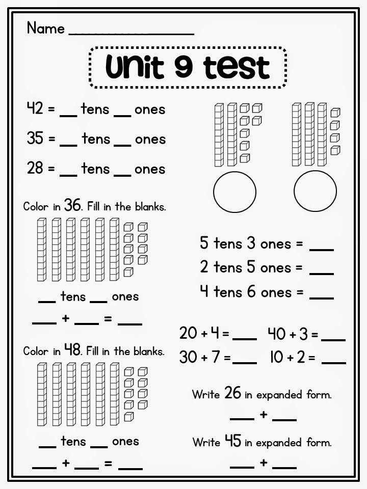 Place value assessments and other good resources for tens and ones expanded form base ten blocks etc. on this site
