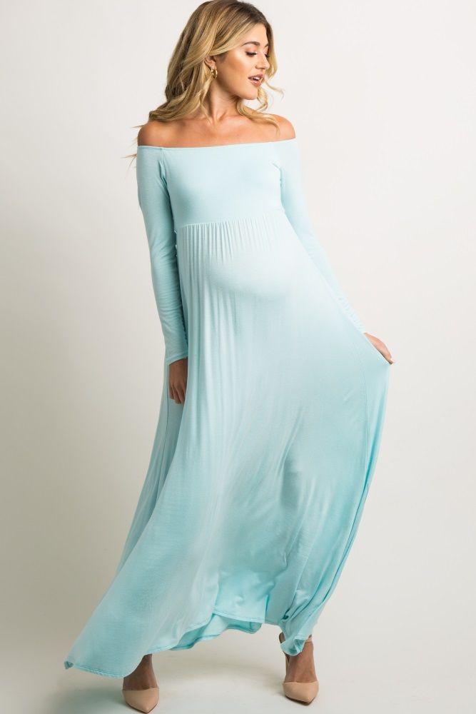 daff6290ca6e Light Blue Solid Off Shoulder Maternity Maxi Dress