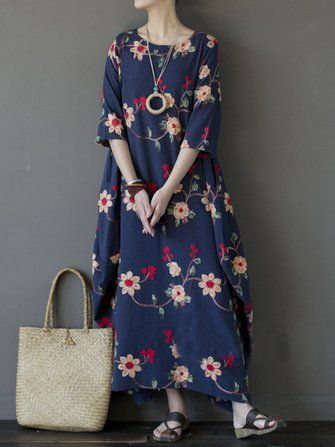 Only US$35.89 , shop Vintage Women Floral Embroidered Half Sleeve Irregular Robe Dress at Banggood.com. Buy fashion Floral Dresses online.