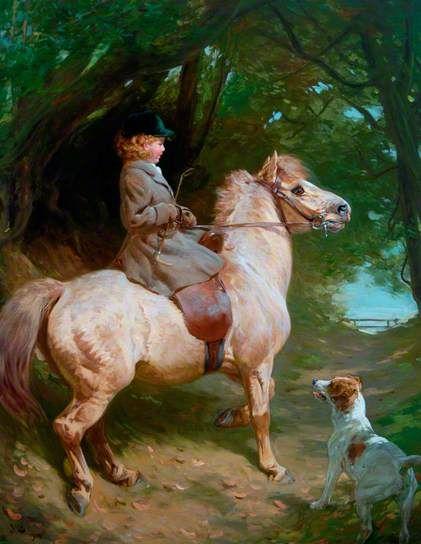 A Morning Ride, the Yellow Sheltie, 1913, by John Charlton (1849-1917)