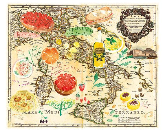 Italian Food Map Art Print #luvocracy #graphicdesign #poster #map #watercolor #italy