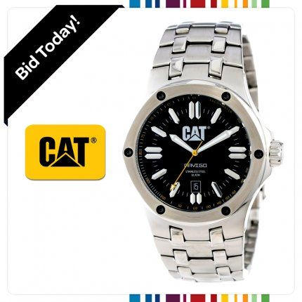 Here's one for the guys. You might remember CAT for being synonemous with rugged work boots and big yellow consruction machinery, well now CAT have applied the same rough, tough values to a range of stylish mens watches. This model is the CAT Navigo 44mm watch with stainless steel case and bracel