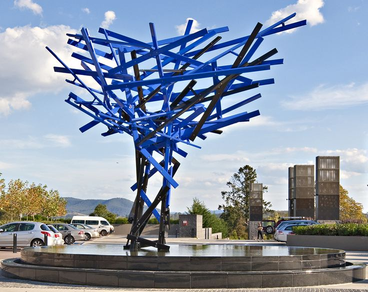 Konstantin Dimopoulos | Blue Tree In A Red Landscape 2010 | RACV Healesville Country Club | Melbourne, Australia | 7 x 6 x 4.5m | 23 x 19 x 15ft | stainless steel, galvanized steel, high-performance coloured coating