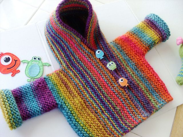 Cute babies hoodie. I would add short rows to shape the shoulders. But what a simple, yet effective pattern this is.