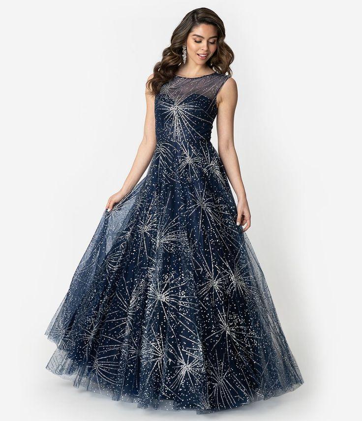 Navy Amp Silver Glitter Starburst Sleeveless Ball Gown