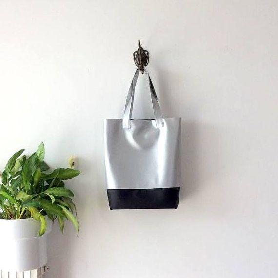 Large Silver Tote Bag - Vegan leather tote Bag - minimal Tote Bag - two tone bag…