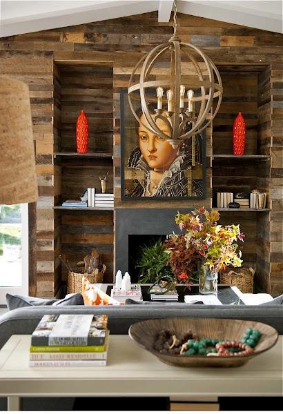 Denise McGaha: Lights Fixtures, House Ideas, Interiors Design, Reclaimed Wood Wall, Denise Mcgaha, Denis Mcgaha, Mcgaha Interiors, Oak Wall, Accent Wall