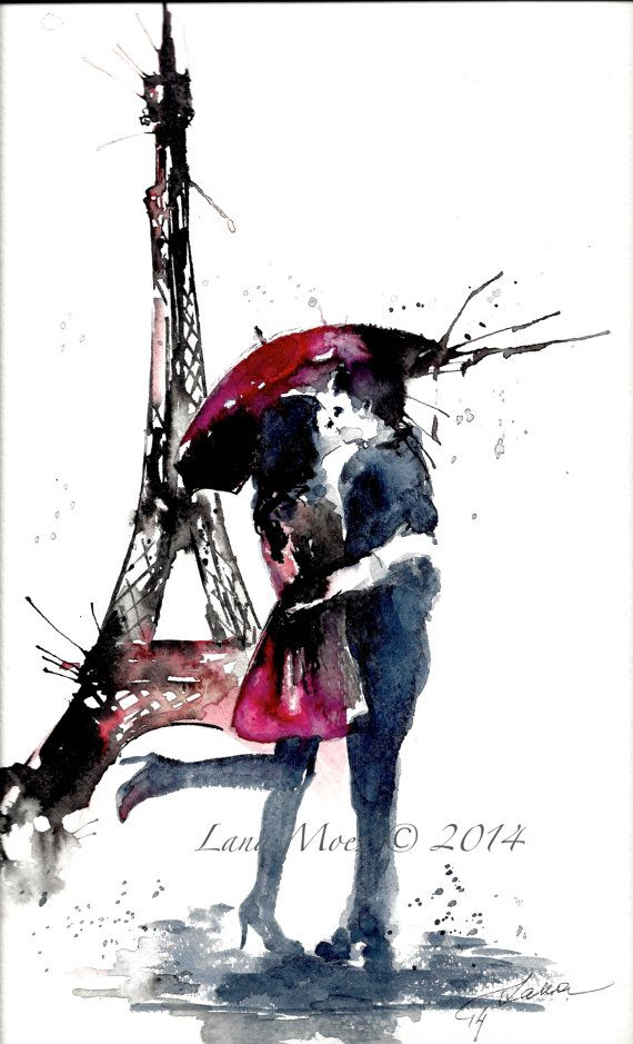 Parisian Love Watercolor Print from Original Watercolor Illustration – Travel Paris Red Umbrella Watercolor Painting