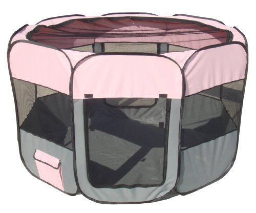 Special Offers - Pet Life All-Terrain Lightweight Easy Folding Wire-Framed Collapsible Travel Dog Playpen Large Pink and Grey - In stock & Free Shipping. You can save more money! Check It (July 16 2016 at 12:14AM) >> http://doghousesusa.net/pet-life-all-terrain-lightweight-easy-folding-wire-framed-collapsible-travel-dog-playpen-large-pink-and-grey/