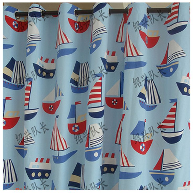 Sailboat pattern fabric cartoon sailboat canvas curtain for Boys curtain material