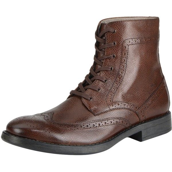Marc New York Men's Baycliff Boot - Brown, Size 7.5 (290 BRL) ❤ liked on Polyvore featuring men's fashion, men's shoes, men's boots, brown, mens shoes, mens brown brogues, mens brogue boots, mens wing tip shoes and mens leather lace up shoes