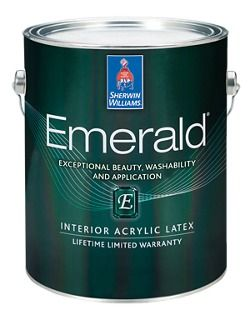 Sherwin-Williams Emerald® paint and primer in one with advanced stain blocking technology delivers best-in-class overall performance.  Professional painters trust Emerald for its exceptional coverage and washability.  Emerald Interior also offers a new flat finish with excellent washability, plus high-hiding accent bases in matte and satin.
